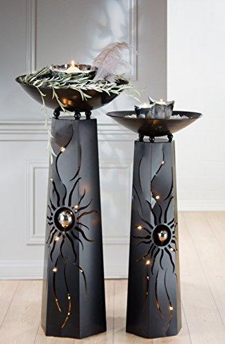 1 x Schalenständer Sonne m. Schale Metall schwarz sechseckig Höhe 102 cm