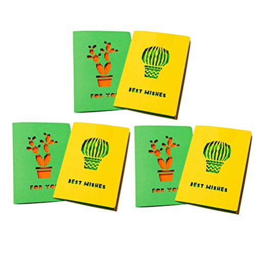 Amosfun 6pcs Greeting Card Cactus Thank You Note Cards envelopes for Business Graduation Baby Shower