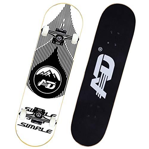 GuanMun Professionelle und Anfänger Skateboarding 4 Runde Ahorn Deck Chrome Stahl Lager für Erwachsene Jugendliche und Kinder (Farbe : Natürlich)