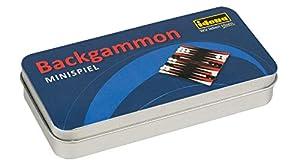 Mini Juego de Backgammon Idena 40108 en práctica Caja de Metal para Almacenamiento y Transporte, Campo de Juego, 32 fichas y 3 Dados, Superficie de Juego Aprox. 13 x 12,5 cm