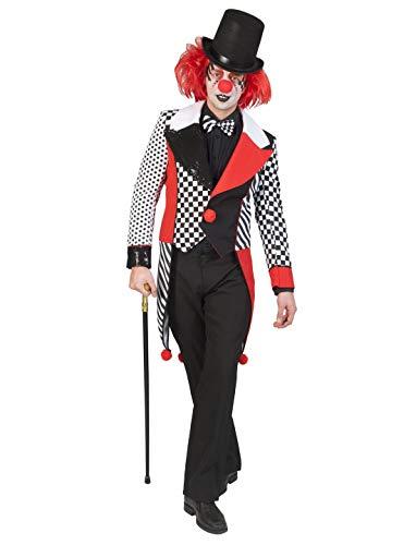 (costumebakery - Herren Männer Kostüm hcohwertiger Jester Harley King Frack, Harlekin Tailcoat, perfekt für Halloween Karneval und Fasching, M, Weiß)