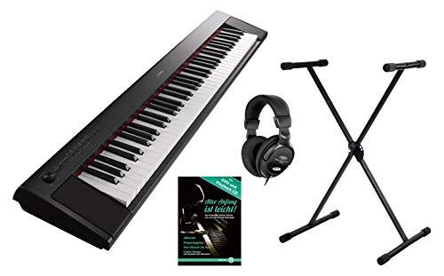 2 Portable Piano Set (76 anschlagdynamische Tasten, 10 Top-Sounds, Record-Funktion, inkl. Keyboardständer, Kopfhörer und Klavierschule, USB, Batteriebetrieb möglich) schwarz ()
