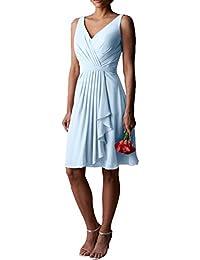 Gorgeous Bride Modern Knielang V-Ausschnitte Chiffon A-Linie Abendkleider Cocktailkleid Ballkleider