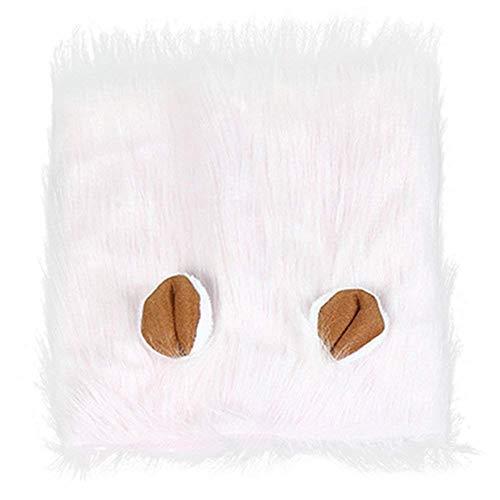 Workbees Hund Löwe Mähne Verstellbar Hunde Perücke Halloween Hundekostüm für Mittlere und Große Hunde (Weiß, Mit Ohren)