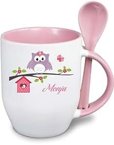 tasse l ffeltasse becher mit namen und wunschmotiv happy eule rosa rand k che. Black Bedroom Furniture Sets. Home Design Ideas