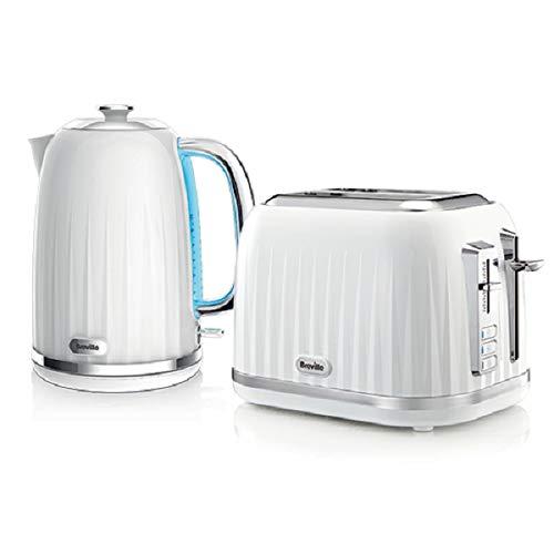 Breville VKJ990X Style Wasserkocher, weiß + 2 Scheiben Toaster, weiß