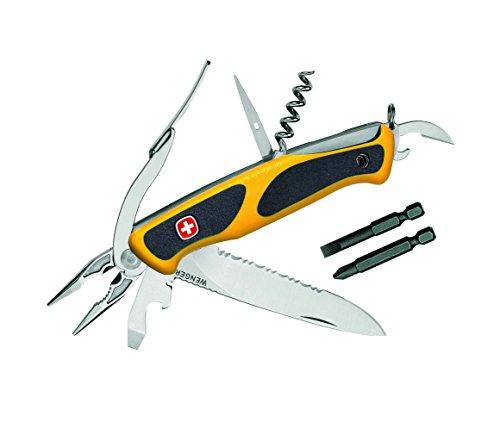 Preisvergleich Produktbild Wenger Taschenmmesser Ranger 174, Rostfrei, Teilsägezahnung, 6 Werkzeuge, Bits, Gelb/Schwarze Schalen, Nylonetui Taschenmesser