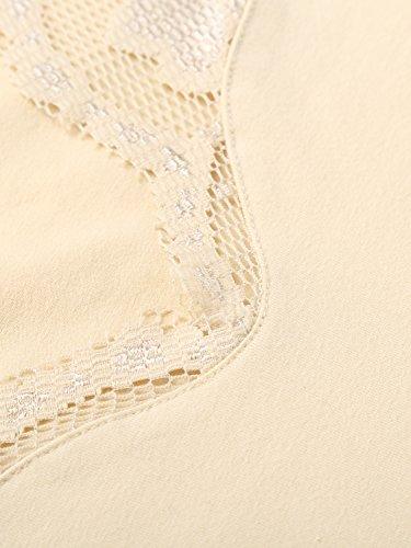 DJT Damen Langarmshirt Bluse V-Ausschnitt Kragen mit Floraler Spitze Apricot-2