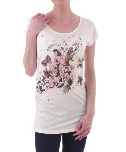galliano-damen-t-shirt-top-creme