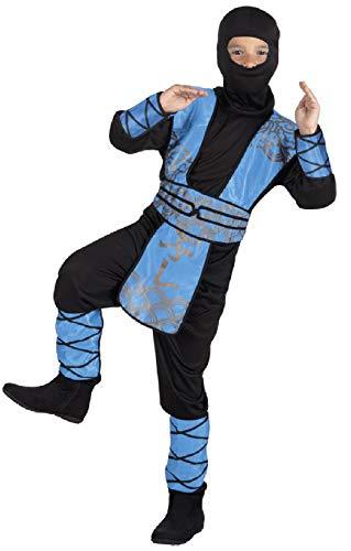 narrenkiste B82190-7-9 Jahre blau-schwarz Kinder Junge Mädchen Ninja Anzug Samurai Köstüm Gr.7-9 - Mädchen Ninja Kostüm Blau