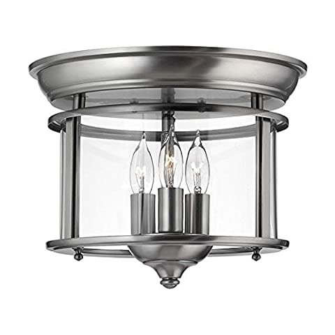 Solid Brass Flush Ceiling Light with 3 Candle Stick Shaped Bulb Holders and Round Clear Glass Lamp Shade - Pewter Finish