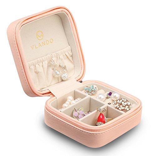 Vlando Kleine Reise Schmuckkästchen Aufbewahrungstasche für Ringe Ohrringe Halskette (Rosa))