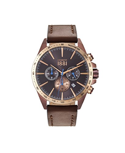 Cerruti 1881 CRA126SBZR12BR Mens Quartz Watch, Chronograph Display and Leather Strap