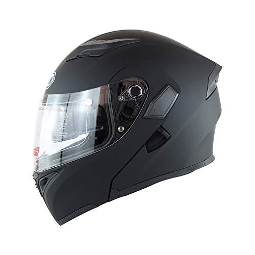 LTK. one Motorradhelm, doppelter Sonnenschutzhelm für Männer und Frauen, UV-Vier-Jahreszeiten-Offroad-Helm, (Dumb Black) Sicherheitszertifizierung, ECE DOT-Doppelzertifizierung,XXL -