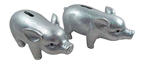 BOLTZE GRUPPE GmbH 2 STK. Sparschwein Set Silber Spardose Schwein lustiges Spardosen Silvester Dekoration