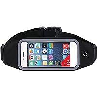 KidsHobby® Acqua resistente Running Cintura Marsupio Pack per uomini e donne, cavallo riflettente e apertura per le cuffie (Nero)