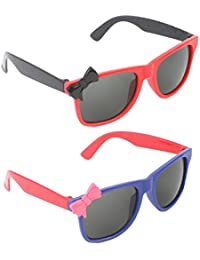 Stol'n Kids Wayfarer And Bow Sunglasses Combo Pack Of 2 Pieces For Girls/Red And Black/Blue And Red