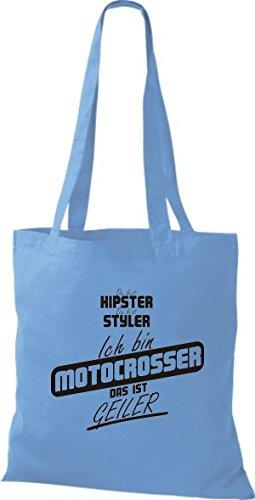 Shirtstown Stoffbeutel du bist hipster du bist styler ich bin Motocrosser das ist geiler hellblau