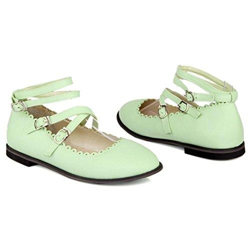 COOLCEPT Damen Knochelriemchen Maedchen Gilrs Flach Ballerinas Pumps Green