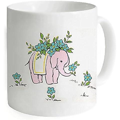 """okoukiu indiano elefante con fiori bianco mug–Tazza da tè personalizzato regalo per compleanno, Natale e nuovo year-3.7""""X 3.1"""", 11oz"""
