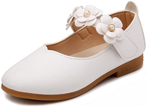 WUIWUIYU Girl's Sweet Flower Mary Janes School Wearing Princess Shoes(Toddler/Little Kid) White Size 13