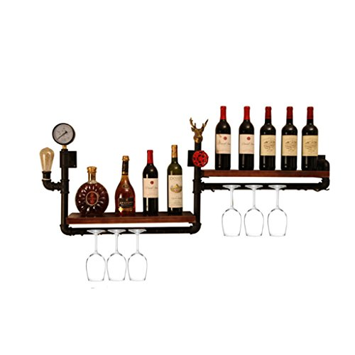 Botelleros - Loft Retro Industrial Wind Bar Vino Rack Wall Hanging Restaurante...