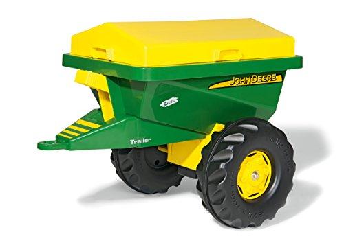 Rolly Toys 125111 Anhänger Streumax John Deere, mit stabiler Streumulde, rotierender Streuscheibe, abnehmbarer Abdeckung (geeignet für Kinder ab 3 Jahren, Farbe: Grün/Gelb)
