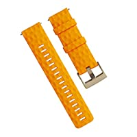 JTMM 24mm Black Gray Amber Yellow Straps Silky Soft Rubber Watch Bands Replacement Watch Band Pvd Buckle For Fossil Watch And Most Diver Watch