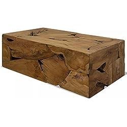 Mesa de Centro Rústica bloque macizo de madera de teca