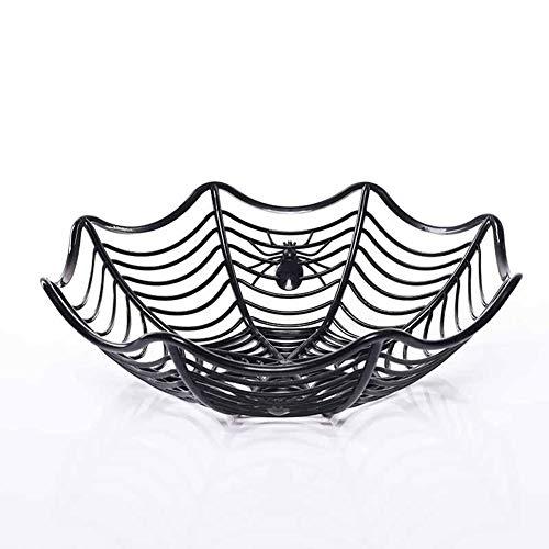 QYJpB Kunststoff Spinnennetz Früchte Candy Basket Spinnennetz Schüssel Halloween Party Decor (Color : Black)