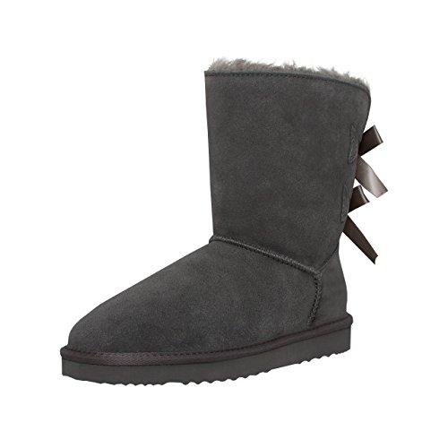 SKUTARI Playful Double Bow Boots, handgefertigte italienische Lederstiefel für Damen mit gemütlichem Kunstfellfutter, Rutschfester und Gepolsterter Sohle, Grau, 37 EU
