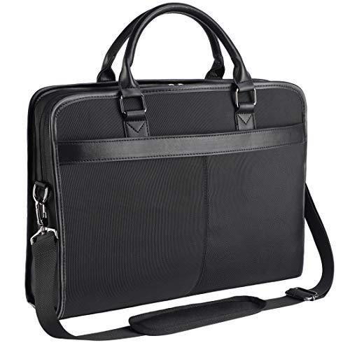 NEWHEY Sacoche Ordinateur Portable 15.6 Pouces Imperméable Briefcase Sac pc Tablette Ordinateur Mallette Cartable Sac à Bandoulière Homme Noir