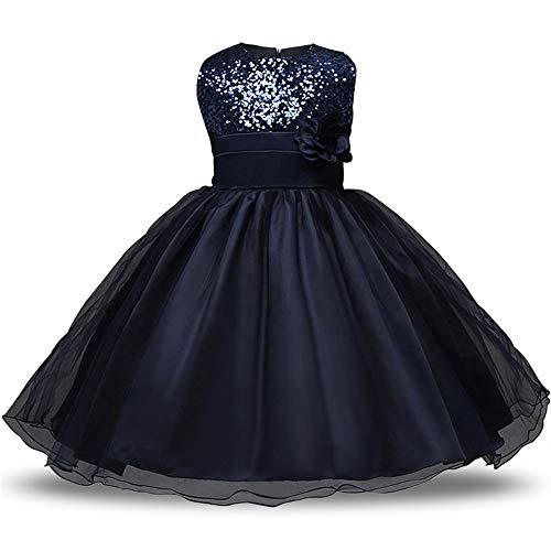 Kostüm Dark Princess - Prinzessin Kleider Mädchen Brautjungfer Kleid Pailletten Party Prom Geburtstag Kleid Kinder Kleidung Spitzenkleid Alter 1-10 Jahre Kleine Mädchen Kostüm ( Color : Dark blue , Size : 100 cm )