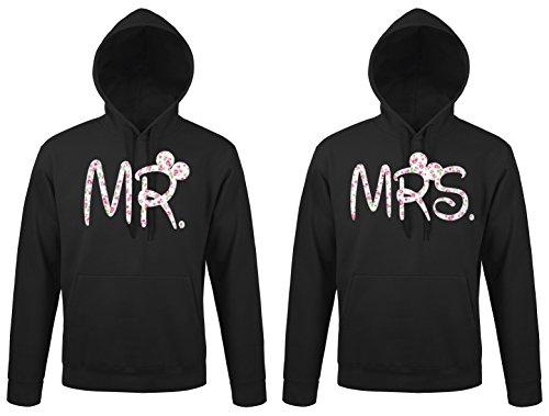 TRVPPY - Couple Partenaire 2x Sweat Pull à capuche / modèle Mr. & Mrs. Mickey Mini / Homme L & Femme L, Noir