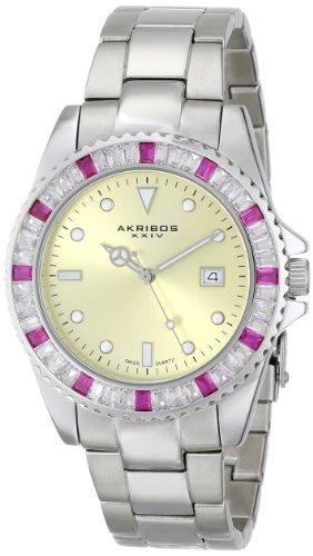 Akribos XXIV Unisex AK702RD Swiss Quartz Red Crystal Stainless Steel Bracelet Watch