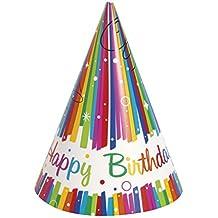 Unique Party 49571 - Cappelli di Compleanno con Nastri Arcobaleno 85e5d7e2da43