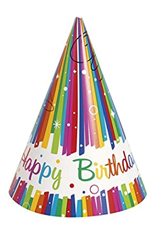 Rainbow Ribbons Birthday Party Hats, Pack of