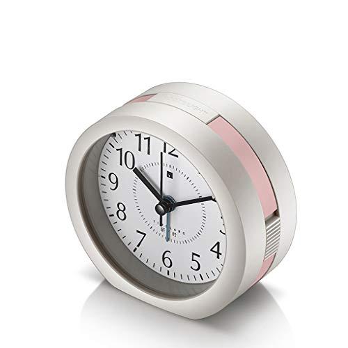 MUTANG Wecker mit weichem Nachtlicht, kreativer Multifunktions-Silent Bedside Simple Alarm Luminous Kinderzimmer-Musik-Kleiner Wecker mit Snooze-Funktion (Farbe : Pink) (Wecker, Musik Klein)