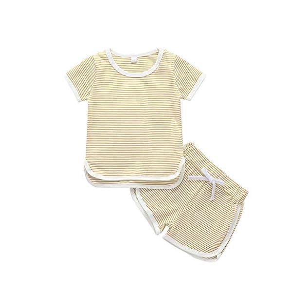 Trisee Verano recién Nacido para Mono de bebé para niñas de Romper Raya algodón Blusa y Pantalones Cortos 2pcs Conjunto… 1
