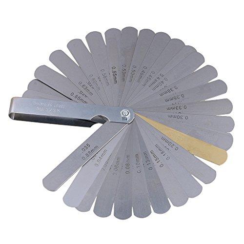 yibuy 32PCS Edelstahl Gitarre Saite Höhe Werkzeug sharplace Gitarrenbau Fühlerlehre Set Stärken Fühlerlehre Imperial & Metrisches