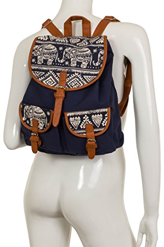 ThaiUK , Sac à main porté au dos pour femme bleu Motif éléphants - Bleu Motif éléphants - Bleu