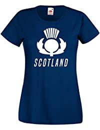 Ladies Scotland Thistle T-shirt - Navy 6 Nations Rugby 2017 Sports Top Scottish Gift