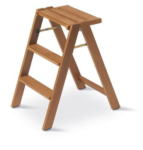 Arredamenti Italia Escalera doméstica OSIMO de madera - 3 peldaños - Plegable - Color: madera de cerezo Ar-It il cuore del legno