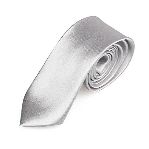 Kanpola Bindung beiläufige dünne einfache Mens feste dünne Ansatz Partei Hochzeit (Silber) (2 Zoll Lila Halsband)