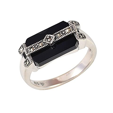 Esse Marcasite Sterling Silver Black Onyx and Marcasite Art Deco Ring Size - L