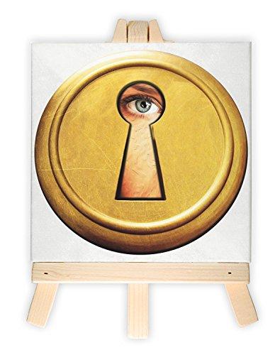 Auge durch Schlüsselloch, Format: 15x15 cm, Minileinwandbild inkl. Staffelei, kreativer Dekoartikel & Geschenkartikel für jeden Anlass. Sehr schön im Büro, Wohnzimmer, Kinderzimmer, Schlafzimmer oder Arbeitszimmer.