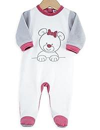 Kinousses Grenouillère Pyjama pour Bébé en Velours Motif Chouette