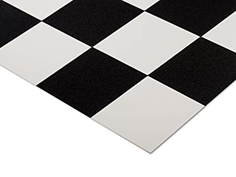 casa pura® Damier Classic Black & White Tile Style Vinyl Flooring | 2 Metre Wide | 2m x 3m | Up to 15 metre