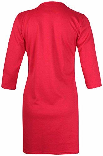 Damen Übergröße Kurzärmel Damen Stretch Runder Halsausschnitt Hundezahn Tunika Minikleid Langes Top Rot