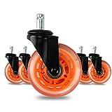 5er Set Hartbodenrollen für Bürostuhl Ruhiges Drehstuhlrollen 11x22mm Rollenset Caster Räder für Ihr Hause oder Büro-Möbel (Orange)